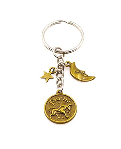 It's All About...You! Zodiac Sign Moon & Star Keychain Key Chain Taurus 109B (Best Sign For Taurus Woman)