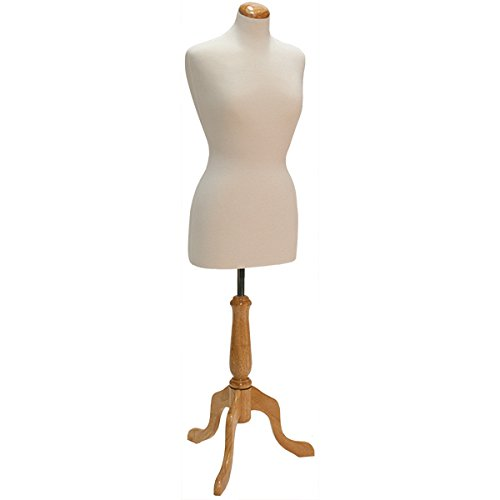 KC Store Fixtures 26105 Woman's Dress Form Size 8, Cream Jersey Fabric with Natural Wood Dome Neck Block, Includes Tripod Base by KC Store Fixtures