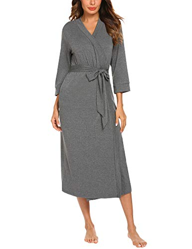MAXMODA Women Bathrobe 3/4 Sleeve Robe Cotton Comfort Female Kimono Robe Sleepwear(Dark Gray, XL) ()