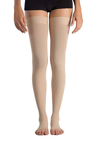 +MD Thigh High Graduated Compression Stockings Open-Toe 23-32mmHg Firm Medical Support Socks for Varicose Veins, Edema, Spider Veins NudeXL