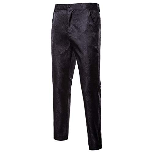 (Transer- Mens Classic Straight Twill Pant, Sim Fit Expandable-Waist Cool Plain-Front Suit Trousers for Wedding Black)