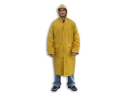 Abrigo impermeable de color amarillo XL [negro]