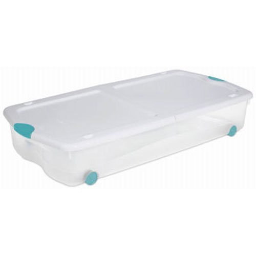 sterilite 18958004 67 quart see through wheeled underbed latch box with white lid and peacock. Black Bedroom Furniture Sets. Home Design Ideas