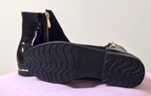 bottine plate arrière verni femme noir