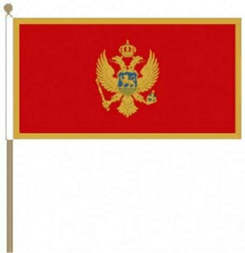 Flagmania® 12 Stück Montenegro 30,5 x 45,7 cm große Handwinkel-Flaggen + 59 mm Button Badge
