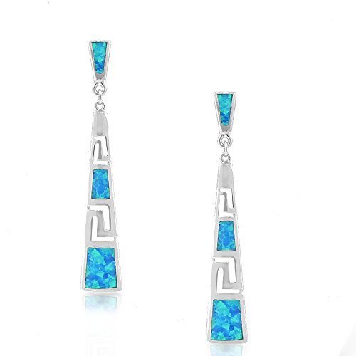 925 Sterling Silver Blue Turquoise-Tone Simulated Opal Greek Key Drop Dangle - Greek Drop