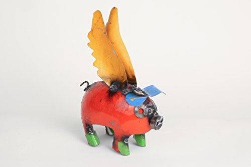 Mini Flying Pig-Recycled Metal Animal-Art (Art Pig Line)