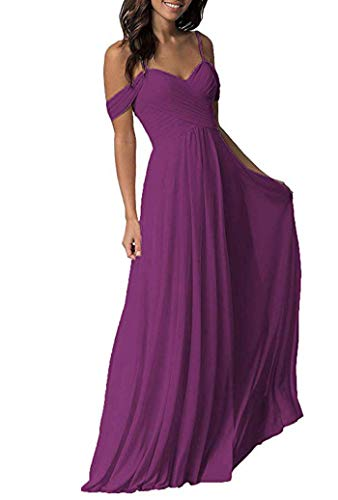 (ONLYCE Women's A-Line Pleated Cold-Shoulder Chiffon Long Bridesmaid Dress Raspberry 16)