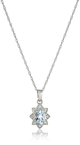 Sterling Silver Aquamarine and Diamond Accent Halo Star Pendant Necklace, 18