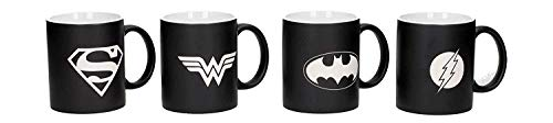 DC Comics Justice League Coffee Mug Set - Set of 4 Mugs - Batman, Superman, Wonderwoman, Flash - Etched Collector Edition Mug Set