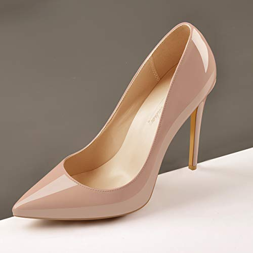 Onlymaker Women's Classic Pointed Toe Genuine Leather High Heels Slip On Stiletto Pumps Dress Basic Shoes Nude US10