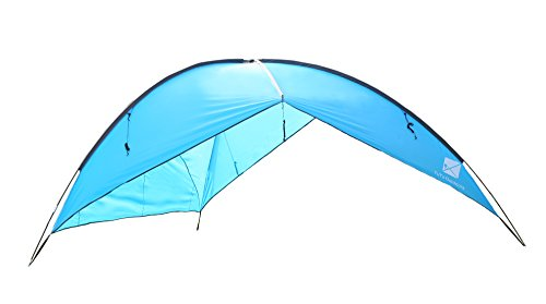 TuTu Outdoor Easy Up Canopy Tent with Sand Bags - Super Big Sun Shade Tarp and Lightweight Beach Tent Sun Shelter For Family Camping Picnic, Waterproof and Windproof, 16 × 16Ft, Blue