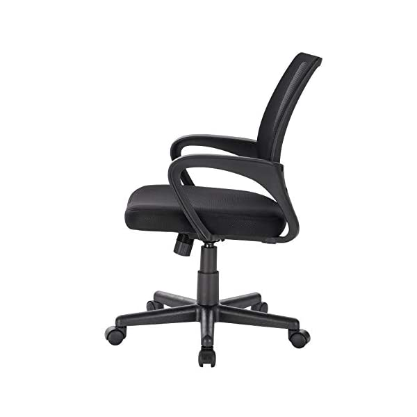 EUGAD 0028BGY Fauteuil de Bureau Chaise de Bureau en Maille Respirante,Chaise pivotante en réglable en Hauteur,Noir