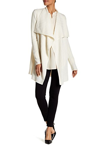 (Theory Trincy LC Rib-Knit Wool-Blend Draped Cardigan Sweater, Ivory (Medium))