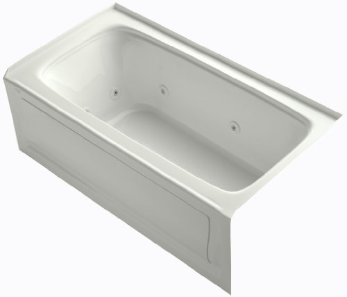 KOHLER K-1151-RAW-NY Bancroft 60-Inch x 32-Inch Alcove Whirlpool with Bask Heated Surface, Integral Apron, Tile Flange and Right-Hand Drain, Dune ()