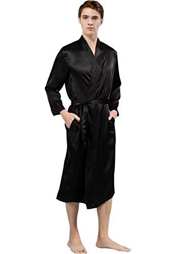 ElleSilk Men's Silk Robe, Silk Sleepwear for Men, 22 Momme 100% Mulberry Silk, Black, XL by ElleSilk