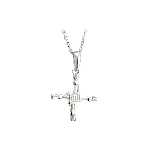 St Brigids Cross Necklace Sterling Silver Single Sided Irish Made