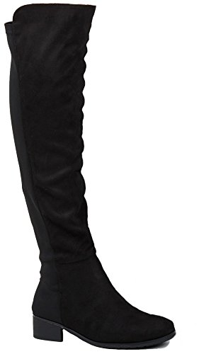 Womens Black Riding Winter Biker Ladies Style Low Heel Flat Wide Calf Leg Over Knee High Boots Size Style J - Black Faux Suede