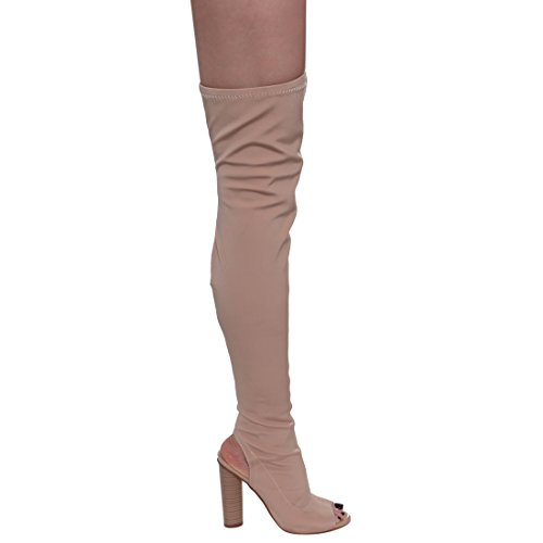 Beston FG20 Damen Stretchy Overknee Peep Toe Stacked Heel Stiefel Nackt