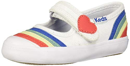 Keds Girls' Harper Mary Jane Flat, White/Rainbow, 7 M US Toddler
