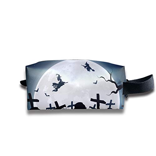 - Halloween Witch Broom Silhouette Cemetery Lawn Multi-Function Key Purse Coin Cash Pencil Travel Makeup Toiletry Bag Box Case