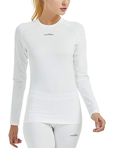 COOLOMG Women's Compression Shirts Crewneck Long Sleeve Cool Dry Base Layer Top White X-Small