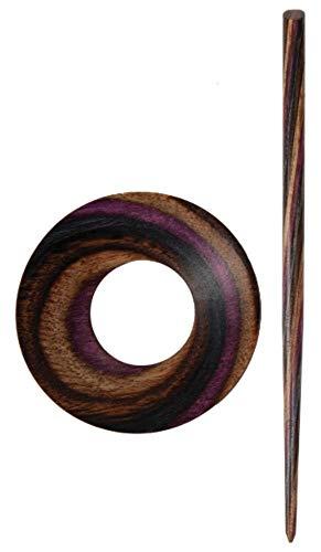 KnitPro KP20828   Lilac Wood Orion Circular Shape Symfonie Shawl Pin With Stick