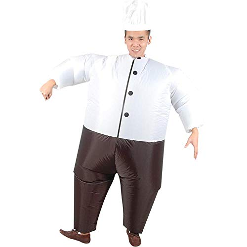 MIMI KING Inflatable Cook Costume for Adults, Halloween Funny Cosplay, with Cook Hat