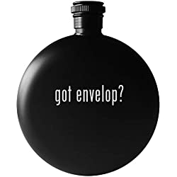 got envelop? - 5oz Round Drinking Alcohol Flask, Matte Black