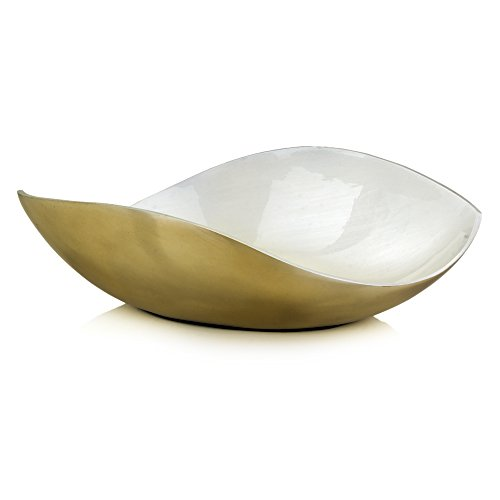 Modern Day Accents 3682 Sedoso White and Gold Curved Bowl by Modern Day Accents