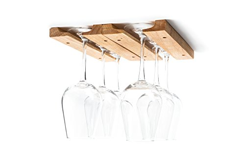 (Fox Run 5025 Mounted Under-Cabinet Wooden Wine Glass Holder Rack, 11 x 7 x 0.75 inches, Brown)