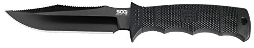 "SOG SEAL Pup Elite Fixed Blade E37SN-CP - Black TiNi 4.85"" AUS-8 Blade, GRN Handle, MOLLE Compatible Nylon Sheath"