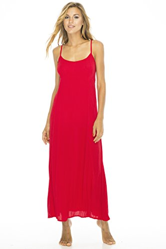Dress Maxi Solid Red Small