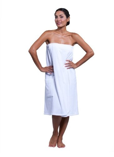 Terry Wrap Skirt - Boca Terry Womens Spa Wrap - 100% Cotton Spa, Shower, Bath and Gym Towel w Snaps - Med/Large, XXL, 4XL, 6XL White