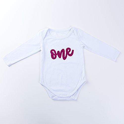14c3838dc9f8 Baby Girls 1st Birthday Outfit Glitter One Romper Balls Skirt Crown Headband  (Hot Pink,