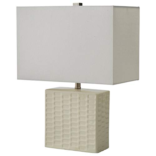 Stone & Beam Modern Square Textured Lamp With Bulb, 20.3