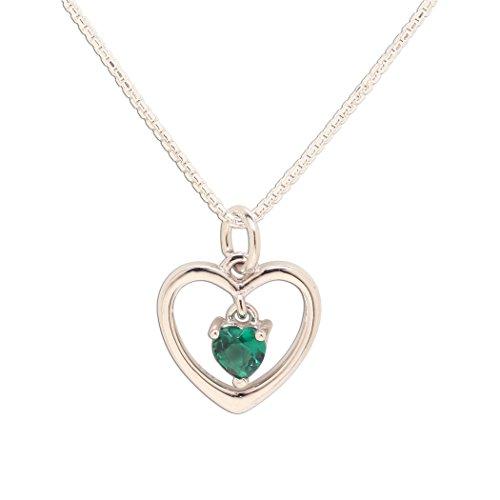 Birthstone Pendant May Green - Girl's Sterling Silver