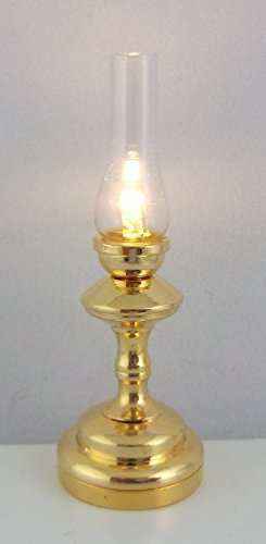 The Miniature Lighting Co Dolls House Led Battery Brass Gold Hurricane Lamp Warm Light