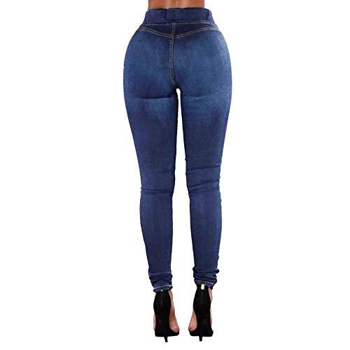 Pantaloni Elastica jeans Vita Daily Colore Lunghi Magro Pantalone Scuro Con Blu Tasche Jeans Denim Lqqstore Donna Puro donna Semplice Moda 7w88q0d