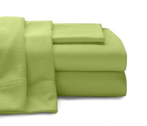 Baltic Linen Jersey Cotton Sheet Set Queen Lime Green 4-Piece Set