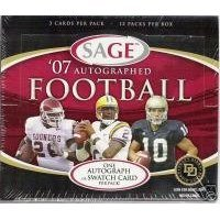Sage Autograph Football Hobby Box (2007 Sage Autograph Football Cards Unopened Hobby box - Adrian Peterson Rookie Year)