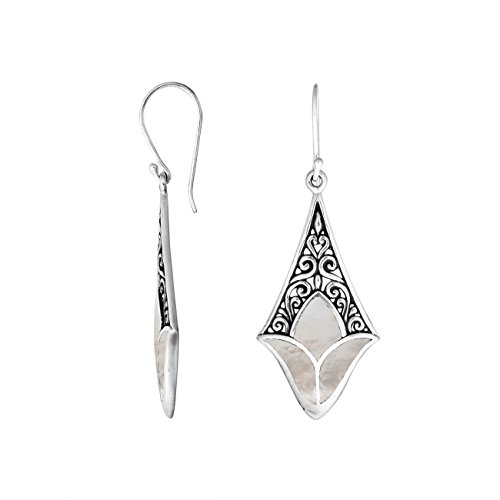 (Sterling Silver Diamond Shape Earring with Shell AE-1074-SH)