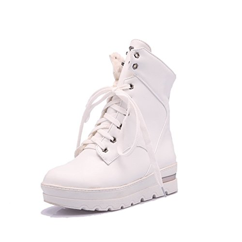 Lace Round up White Boots Allhqfashion Heels Toe Women's Soft Kitten Solid Closed Material vwIqzH
