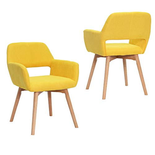Modern Design Fabric Accent Chair Dining Chair W/Solid Wood Leg Living Room (Bright Yellow) Set of 2
