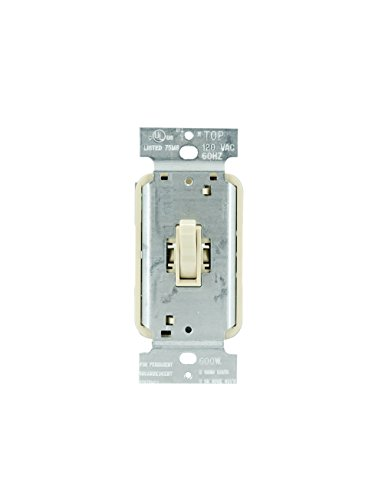 Designer Dimmer - Legrand - Pass & Seymour T600IV Toggle Dimmer Light Switch 600-watt Single Pole Easy Install, Ivory