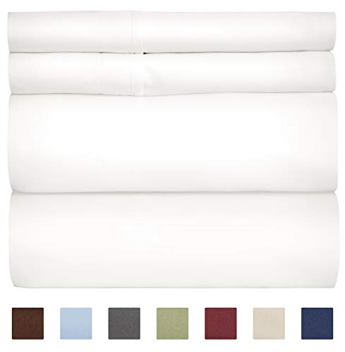 100% Cotton Sheets - Queen Size Bed Sheets - 400 Thread Count - Cotton Bed Sheets - Long Staple - Pure White Bed Set ()