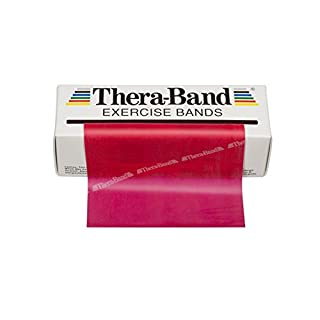 TheraBand Resistance Bands, 6 Yard Roll Professional Latex Elastic Band For Upper Body, Lower Body, & Core Exercise, Physical Therapy, Pilates, At-Home Workouts, & Rehab, Red, Medium, Beginner Level 3