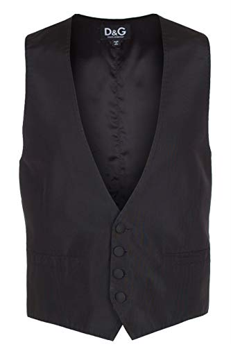 Dolce & Gabbana D&G Men's Black Silk Blend Waistcoat Vest, EU 48 / US S, -