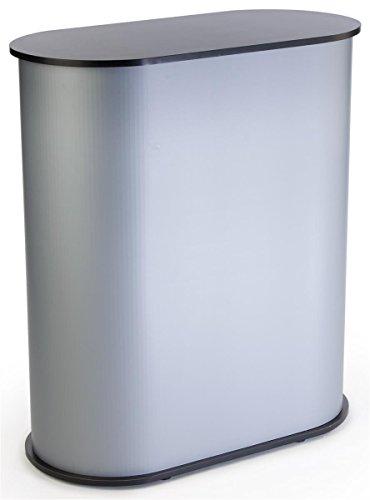 Trade Show Counter with Satin Gray Sidewalls, Interior Shelf, Lightweight Portable Construction.