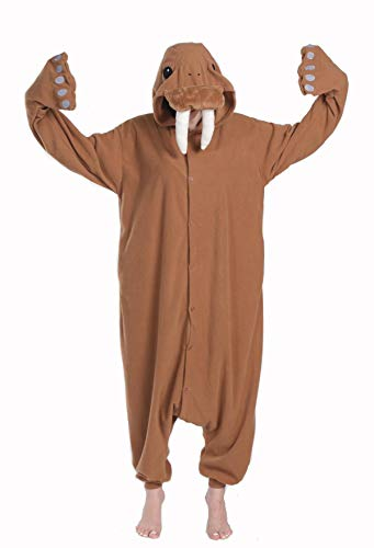 Funnyparty Unisex Aldult Pajamas Halloween Walrus Costume Cosplay Animal Brown